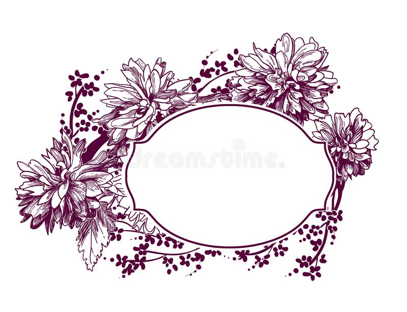 Frame vector background victorian chrysanthemum flower sketch stock illustration