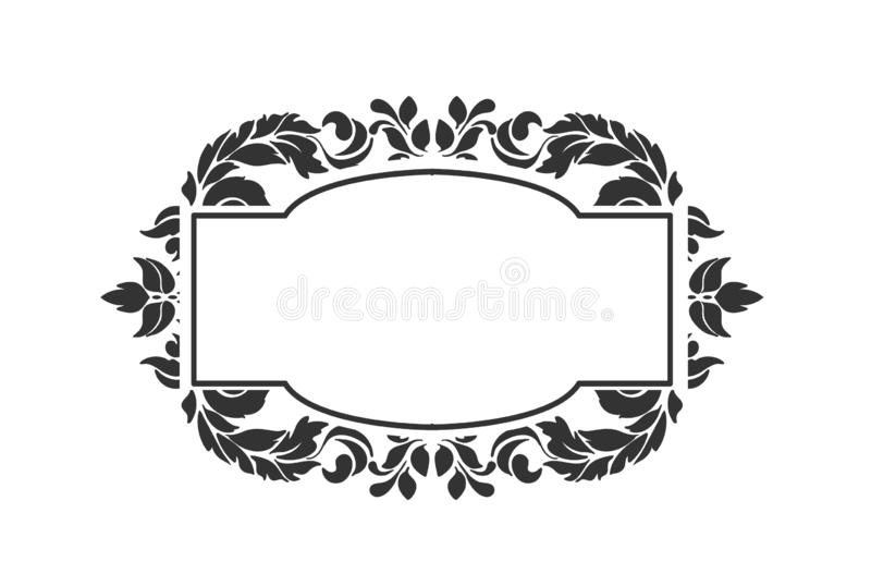 Frame vector background victorian damask geometric isolated royalty free illustration