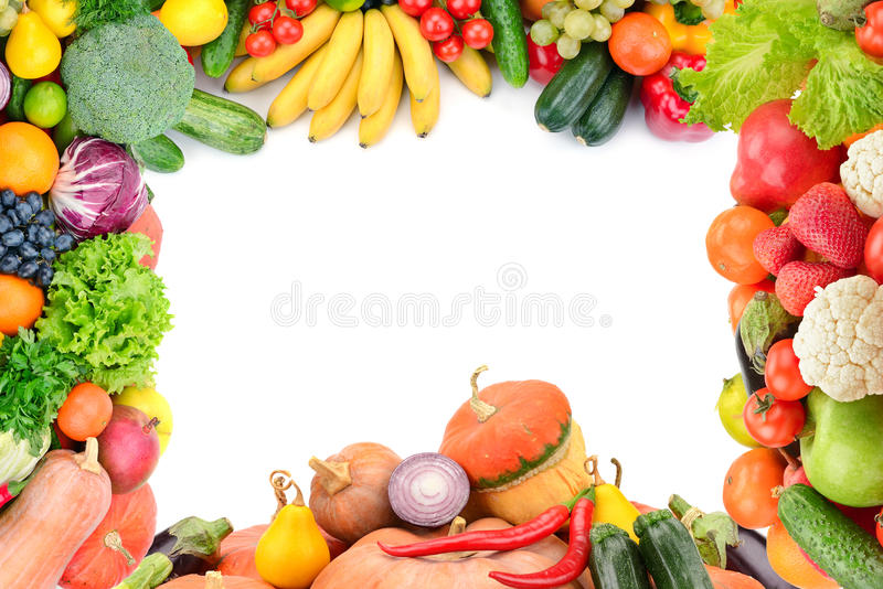 Frame of vegetables and fruits royalty free stock photos
