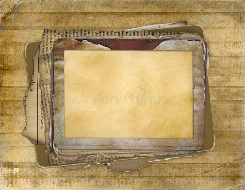 Frame velho do grunge no fundo do antiquarian ilustração stock