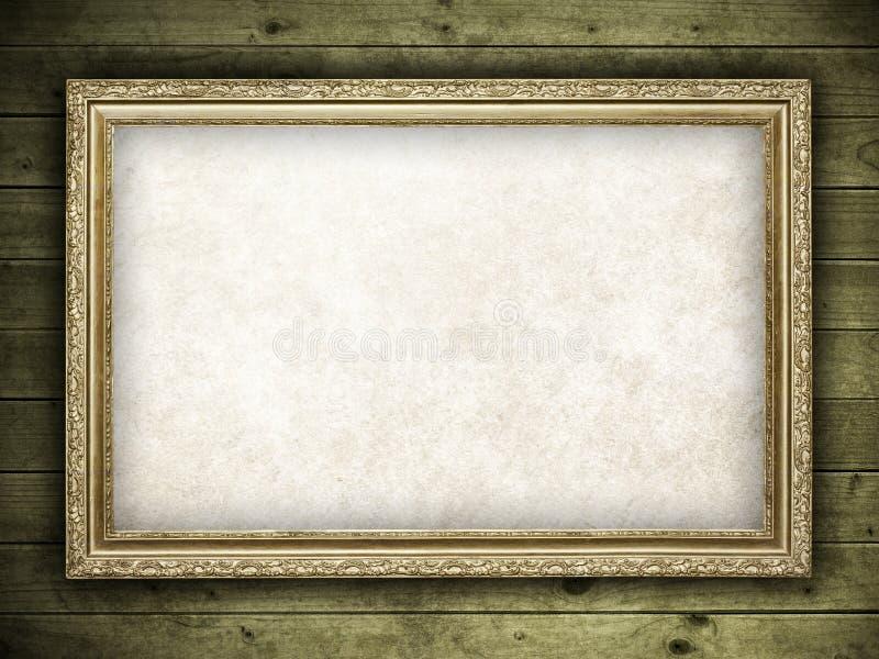 Frame velho no fundo de madeira foto de stock royalty free