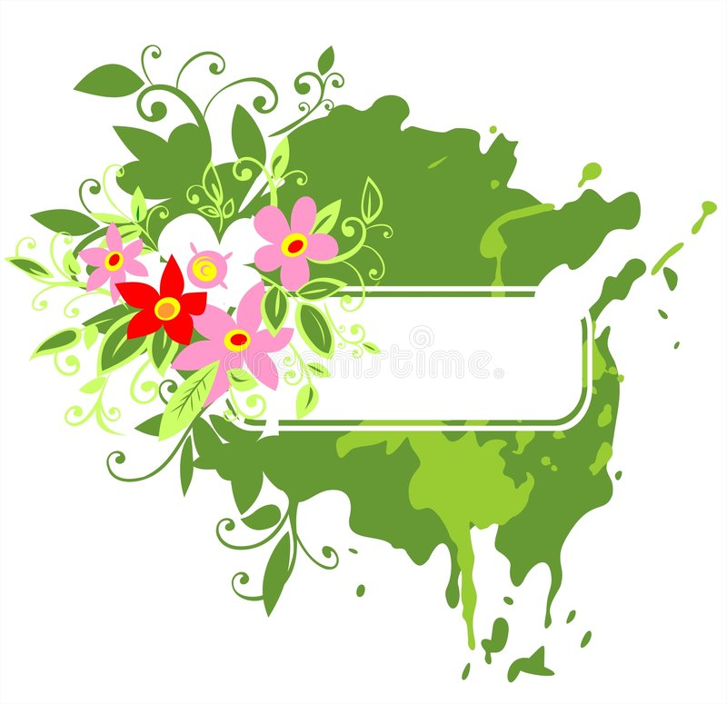 Frame verde e flores cor-de-rosa ilustração royalty free