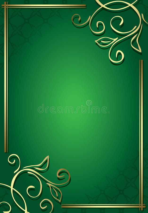 Frame verde floral com decorações do ouro ilustração royalty free