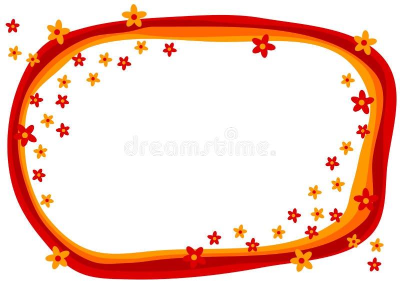 Frame vermelho das flores do cartão do convite ilustração stock