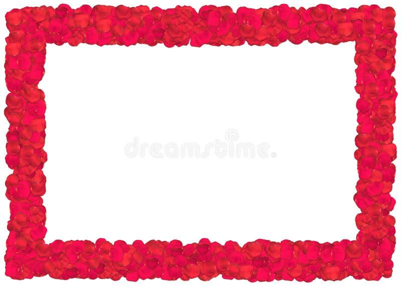 Frame vermelho das pétalas de rosas ilustração stock