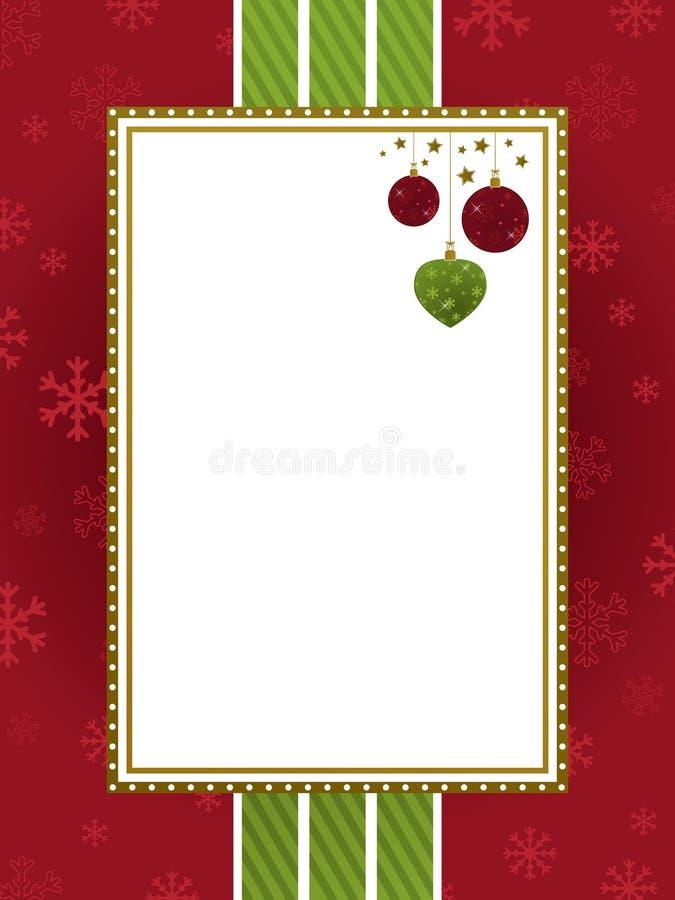Frame vermelho do Natal do verde e do ouro ilustração royalty free