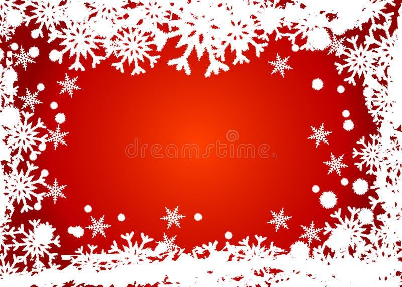 Frame vermelho dos flocos de neve fotografia de stock royalty free
