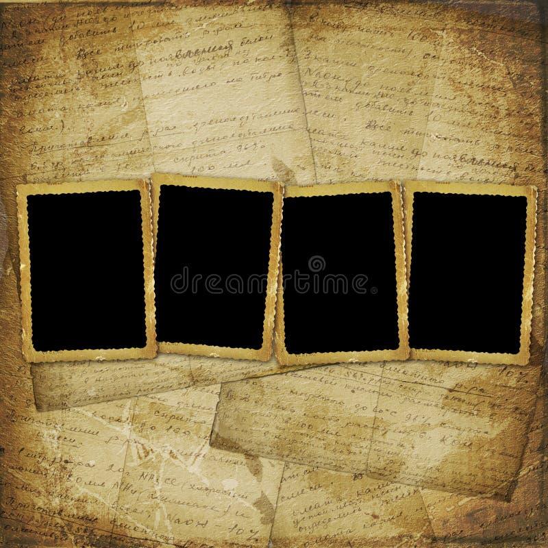 Frame vier op het oude document voor foto's royalty-vrije illustratie