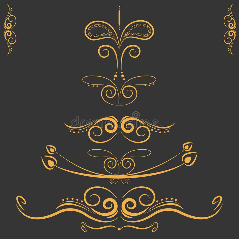 Set of decorative elements, border and page rules frame royalty free illustration
