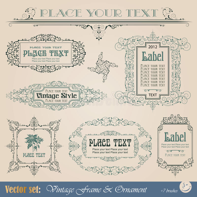 Download Frame in vintage style stock vector. Image of book, document - 23783072