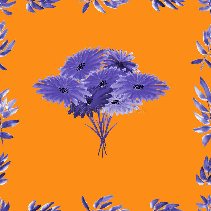 Frame with violet foliage and violet floral bouquet on a orange background. Watercolor seamless pattern stock photos