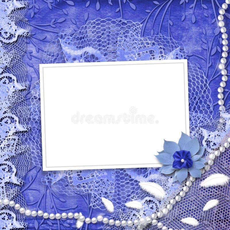 Frame voor foto met parels en kant stock illustratie