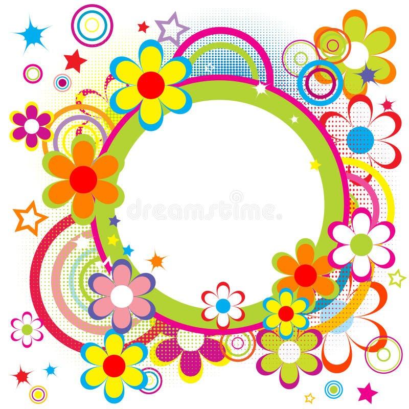 Frame voor jonge geitjes met cirkels, bloemen en sterren stock illustratie