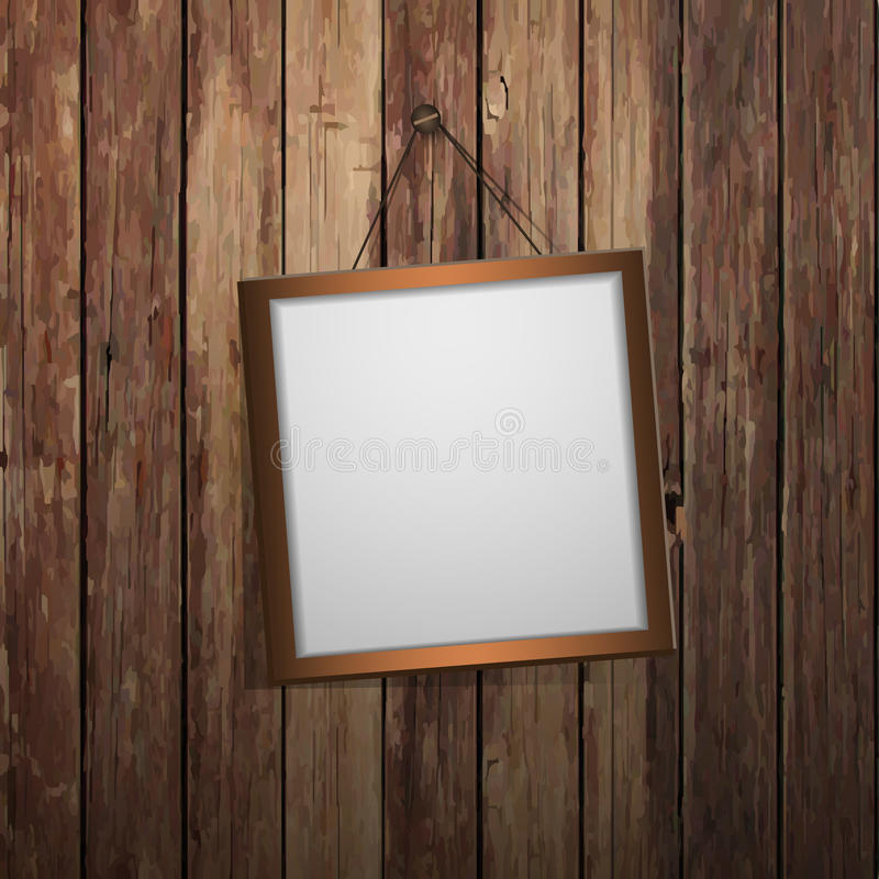 Frame on the wall. Empty frame hangs on a wooden wall - Illustration in freely scalable and editable vector format royalty free illustration