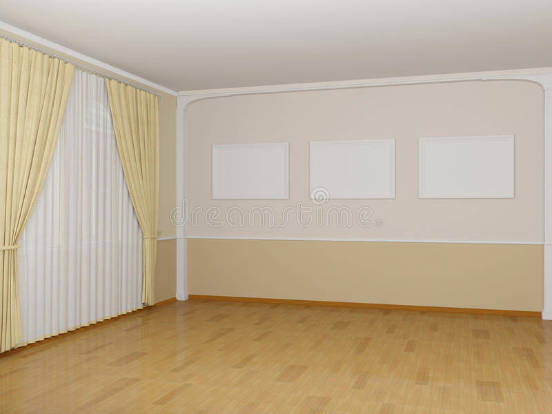 Frame On The Wall In A Light Room Stock Illustration