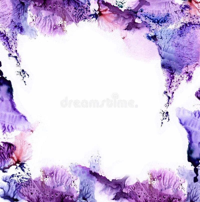 A frame of watercolor beautiful spots and prints. Abstract style in violet color, pattern for design vector illustration