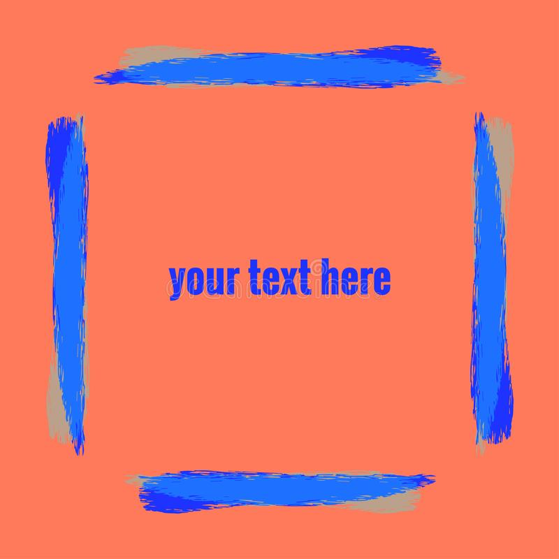 Frame of watercolor brush stripes color ultramarine on background coral color. Your text here. stock illustration
