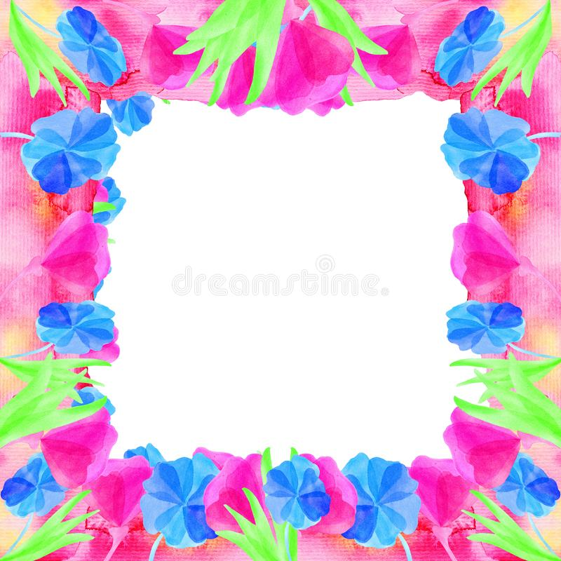 Frame of watercolor flowers spring and summer. On a white background for design and cards royalty free illustration