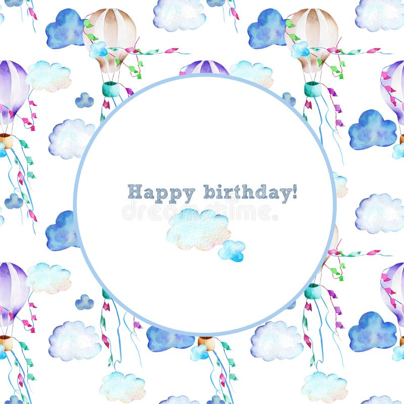 Frame with watercolor hot air baloons background royalty free illustration