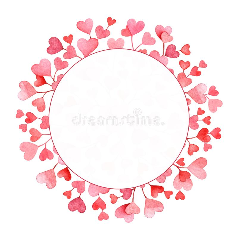 Frame with watercolor pink and red hearts on white background stock photography