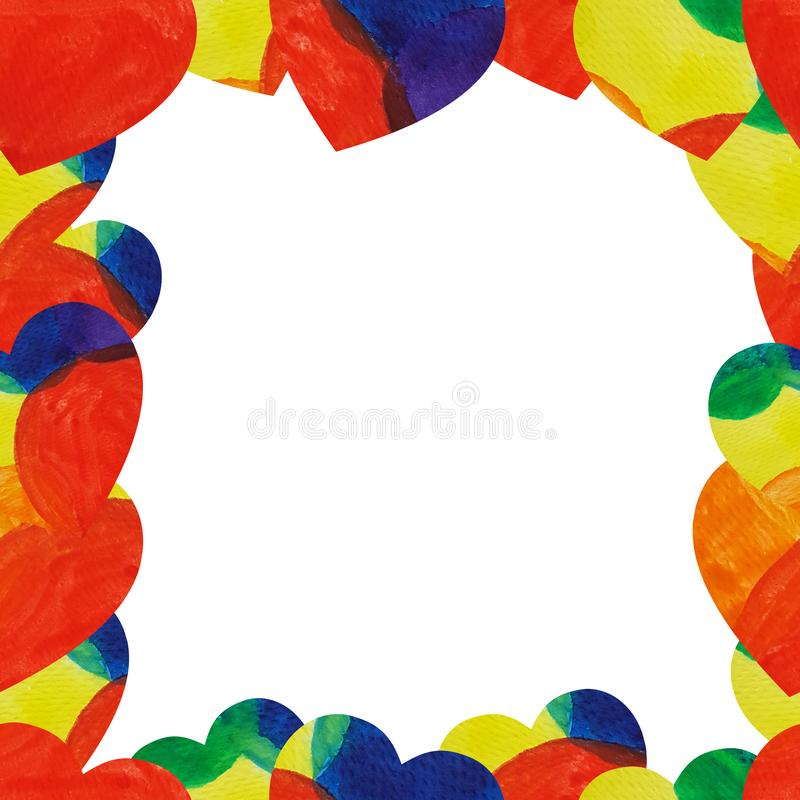 A frame from watercolor rainbow hearts. Hand draw illustration background. A frame from watercolor rainbow hearts. Background can be printed on textile stock image