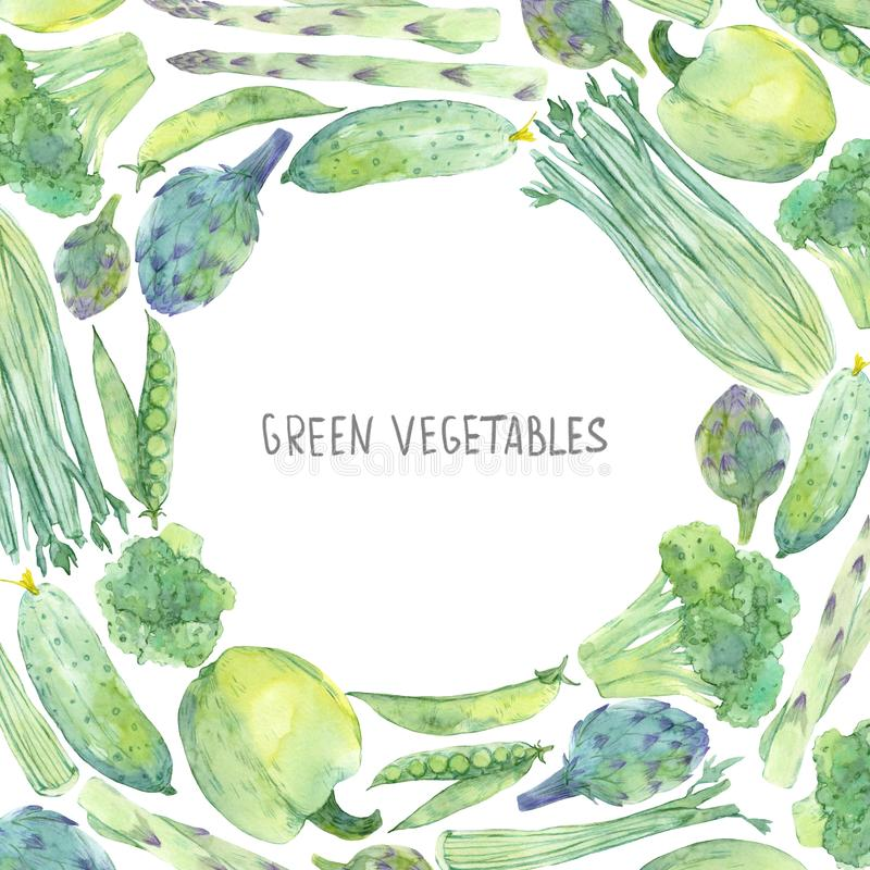 Frame with watercolor sketching fresh green vegetables. Organic food template for menu, flyers, sales stock illustration