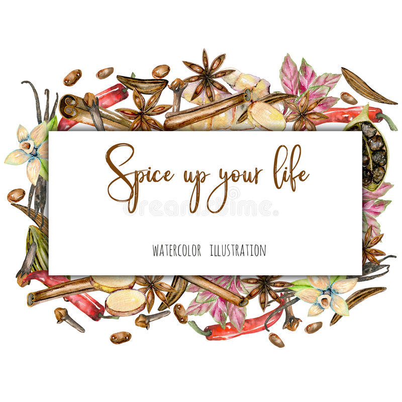 Frame from watercolor spices stock illustration