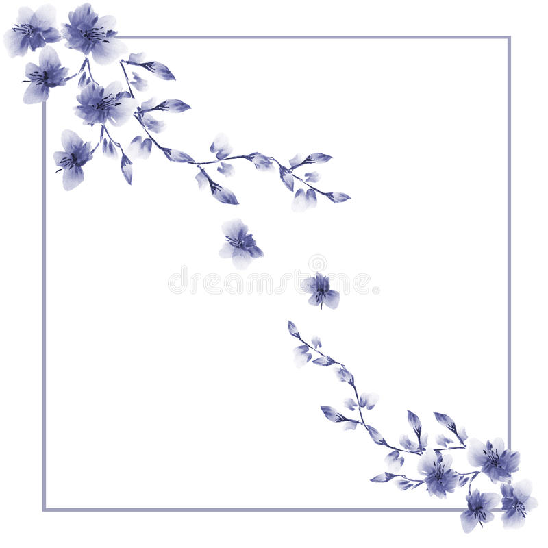Frame watercolor with two corner ornaments of wild violet flowers on a white background stock photo