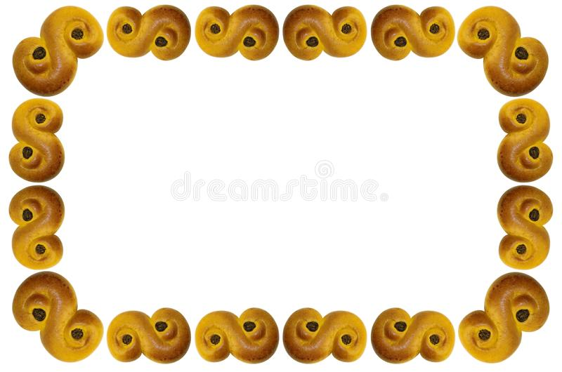 Frame with white background, Traditional saffron buns, tradition in Sweden at first advent until Christmas. stock images