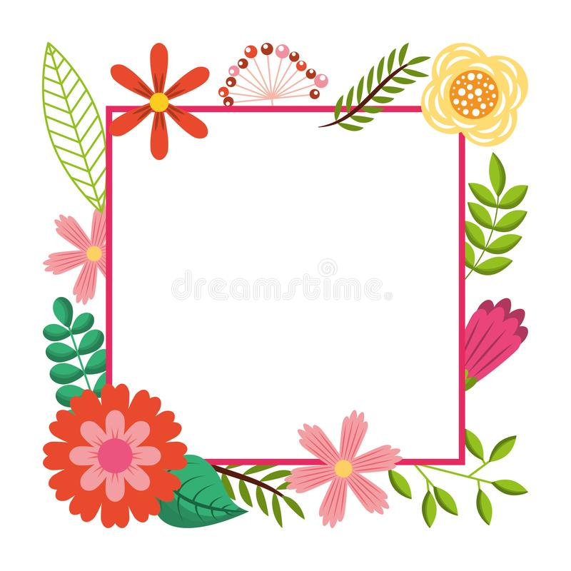 Frame from wild flowers greeting card template design royalty free illustration