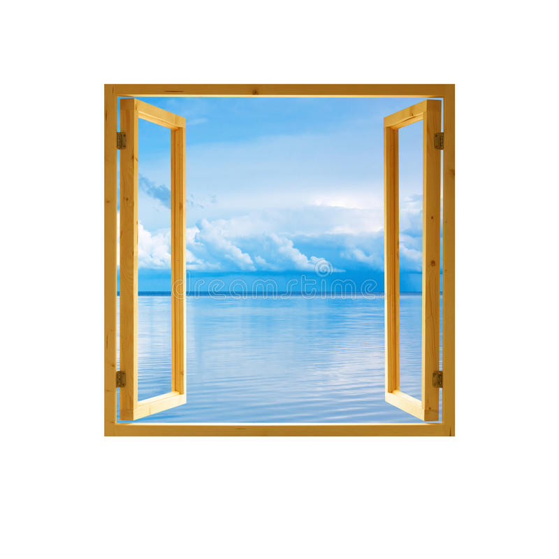 Frame window open wooden sky water clouds view. Background royalty free stock photos