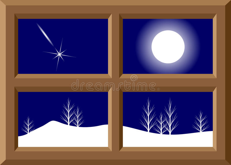 Frame of a window and winter landscape. vector illustration