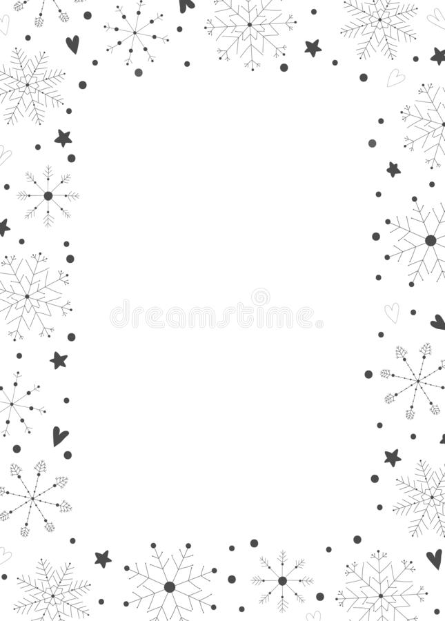 Free Frame With Black Hand Drawn Christmas New Year Winter Doodle Icons Snowflakes Stars Royalty Free Stock Images - 162126339