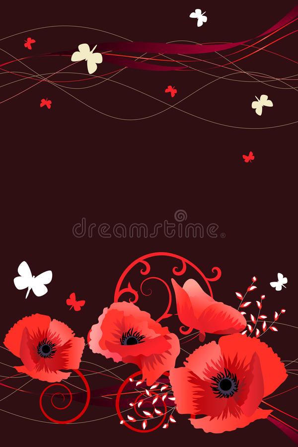 Free Frame With Butterflies And Poppies Stock Photos - 18198373