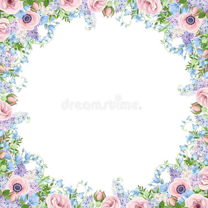 Free Frame With Pink, Blue And Purple Flowers. Vector Illustration. Stock Photography - 144947202