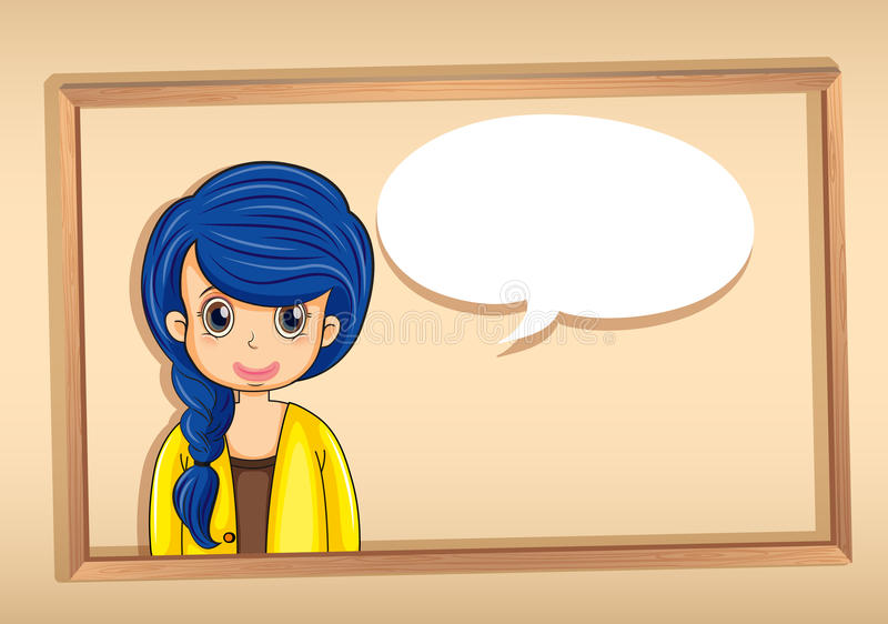 A frame with a woman having an empty callout royalty free illustration