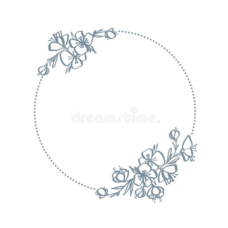 Frame of wreath with flowers and branches. Decor design with place for your text isolated on white. Sketched floral and royalty free illustration