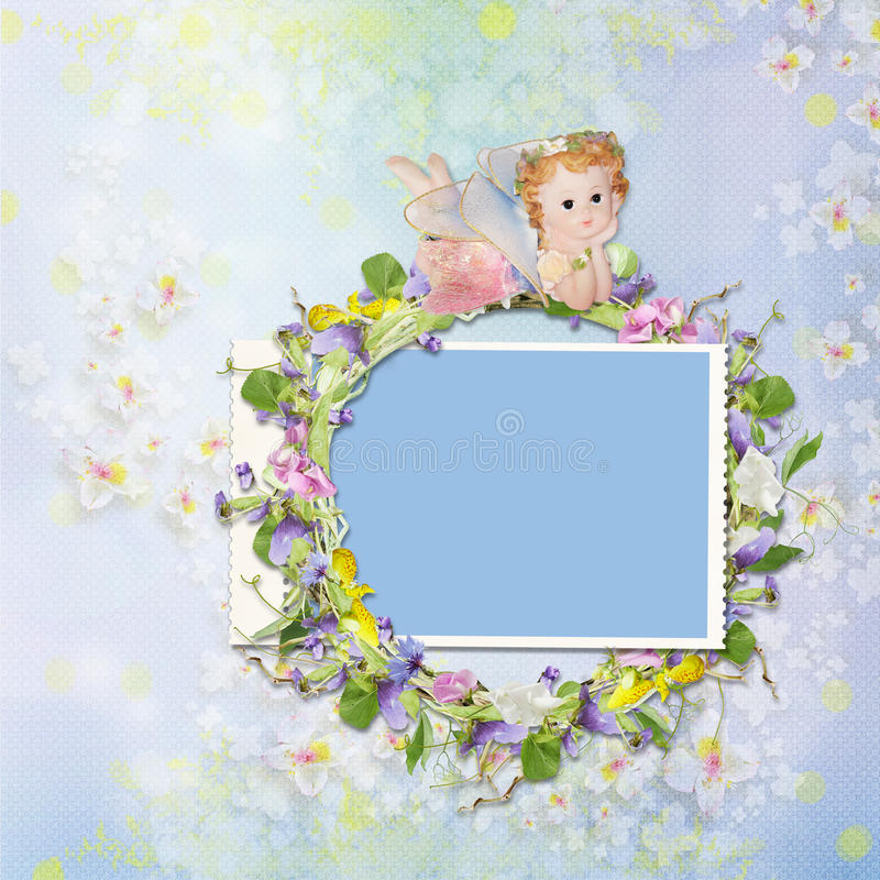 Frame with a wreath of flowers and a fairy on a background