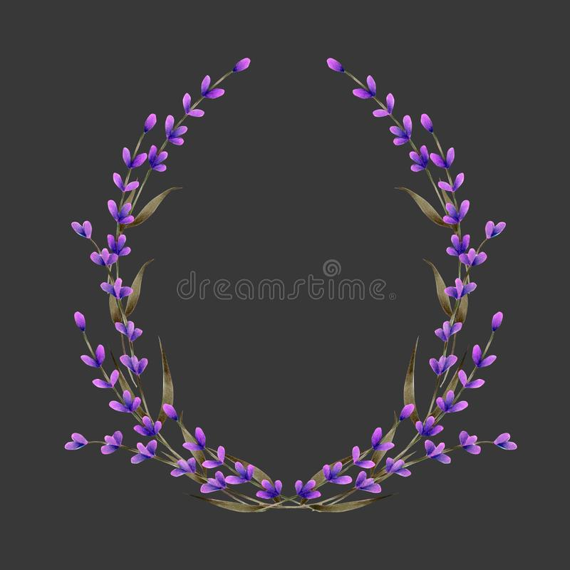 Frame, wreath, frame border with watercolor lavender flowers, hand painted on a dark background. Greeting card, decoration postcard, wedding invitation vector illustration