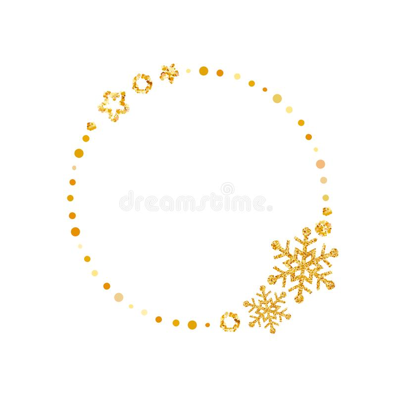 Frame of wreath with snowflakes and stars. Christmas vector decor design with place for text isolated. Sketched floral royalty free illustration