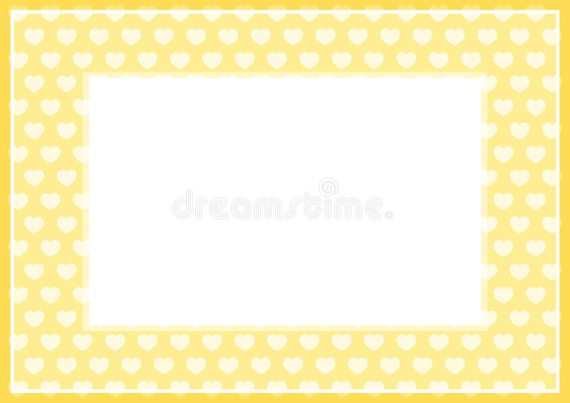 Frame of yellow pastel color soft and hearts shape for banner background and copy space white paper, heart shape on yellow soft. The frame of yellow pastel color stock illustration