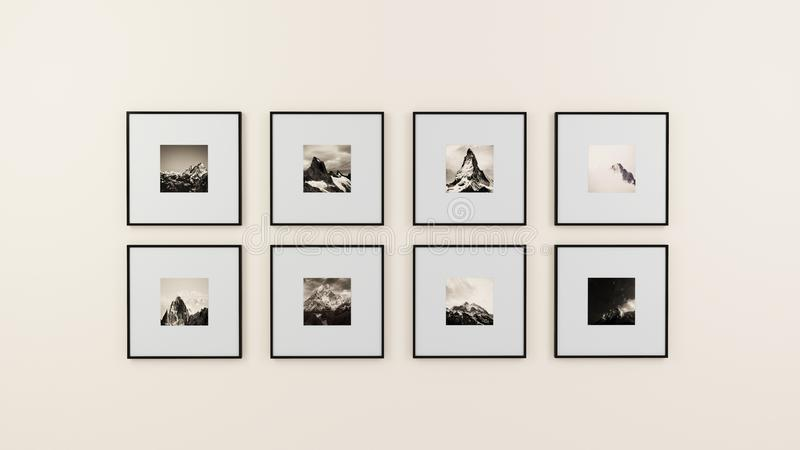 Framed art on wall royalty free stock photography