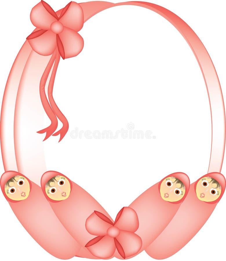Framed baby girls vector illustration