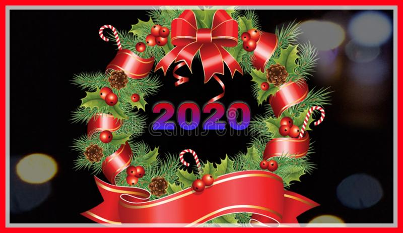 Framed background of happy new year 2020 royalty free stock image