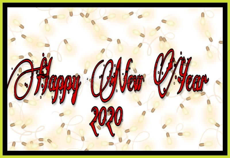 Framed background of happy new year 2020 stock illustration