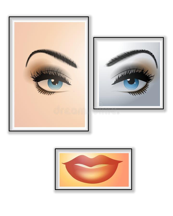 Framed Beauty Female Face vector illustration