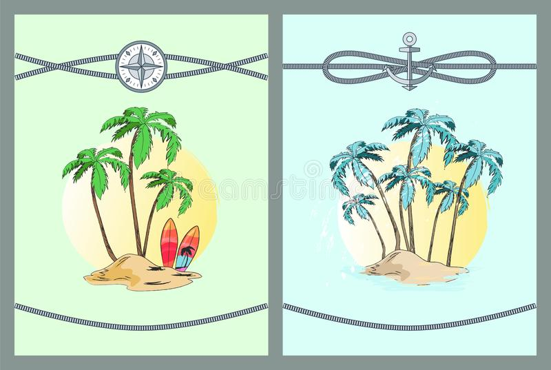 Framed Color Vector Illustrations with Palm Trees. Framed vector illustrations with palm trees blue and green leaves on palms that isolated in bright yellow stock illustration