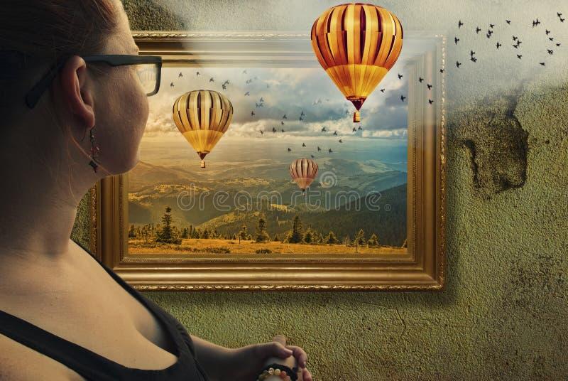 Framed illusion vector illustration