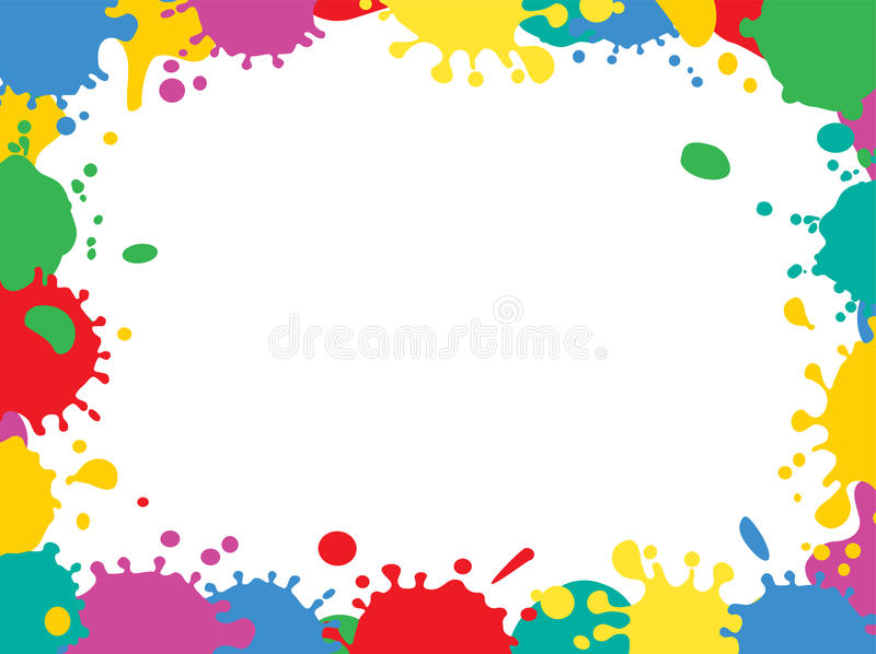 Framed ink drops. Frame of colorful blobs, white background. illustration vector illustration