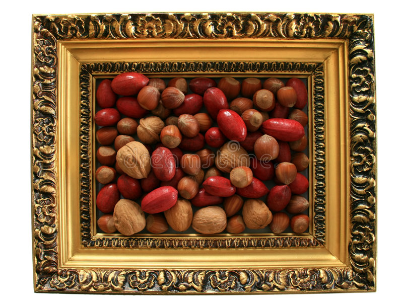 Framed Mixed Nuts. Filberts, walnuts and pecan nuts in a decorative frame royalty free stock photos